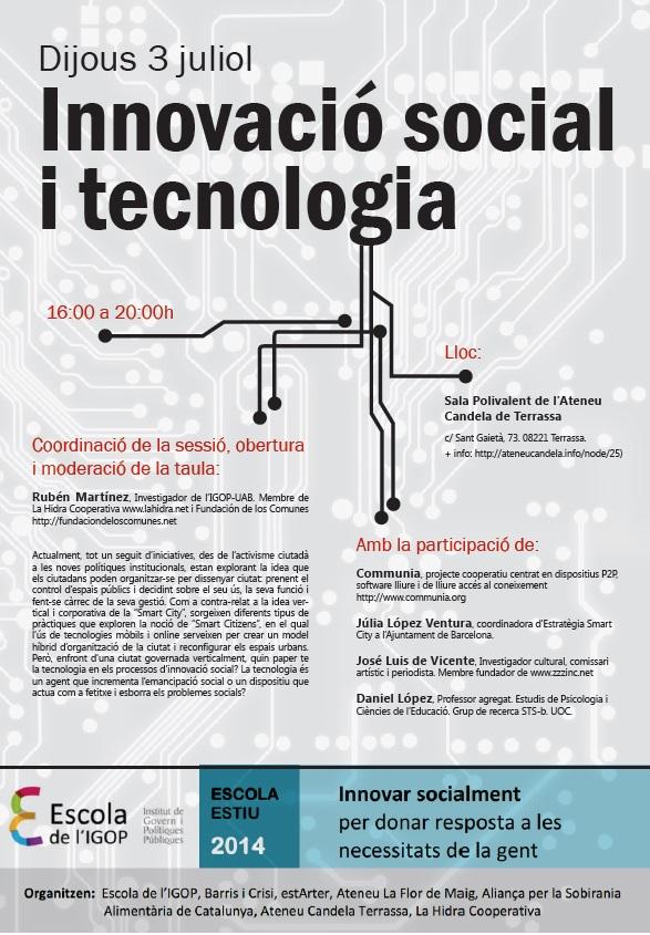dijous 3-7-2014 innovació social i tecnologia